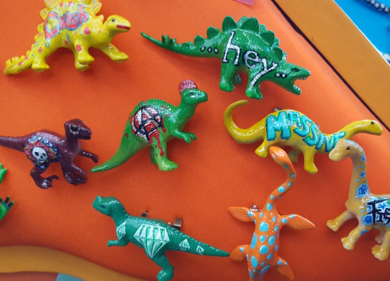 Hand painted dinosaur brooches
